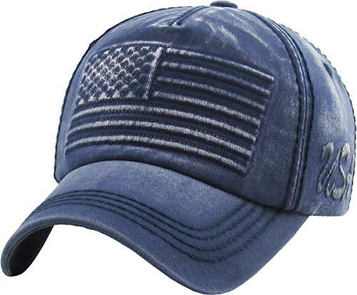 KBVT-747 NAV Flag USA America Vintage Distressed Dad Hat Baseball Cap Adjustable