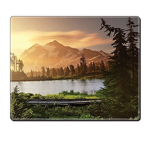 Mouse Pad Unique Custom Printed Mousepad Americana Landscape Decor Picturesque Lake And Snow Covered Mountain Peaks Peaceful Northwest Green Stitched Edge Non Slip (North West Halloween Unicorn)