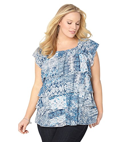 AVENUE Women's Abstract Tiered Off the Shoulder Peasant Top, 18/20 Navy