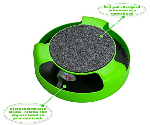 AroPaw Cat Toys Interactive - Cat Toy with Rotating Running Mouse and A Two in One Scratching Pad - Catch The Mouse - Catnip Toy Mouse (Catnip Not Included) - Quality Kitten Toys 5