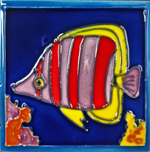 Continental Art Center SD-118 4 by 4-Inch Tropical Fish No.4 Ceramic Art Tile