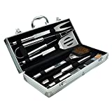 Dazone 6 Pieces Stainless Steel BBQ Utensils Barbecue Grill Set & Luxury Presentation Storage Case Professional Outdoor Barbecue Grill Tool Accessories Kit