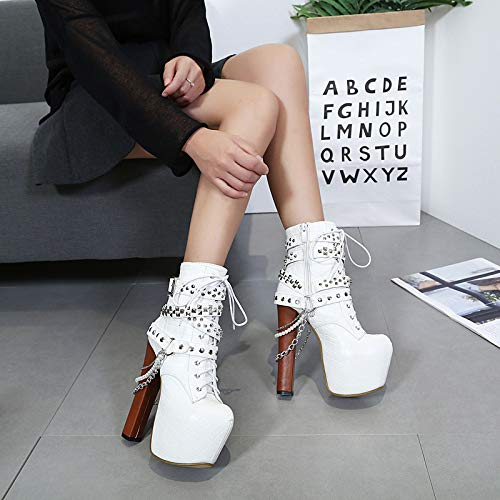 AGECC - Schuhe mit grobem Absatz 16Cm - - - Schuhe mit hohem Absatz - Komfortable Martinstiefel mit Perlen 92e2e0