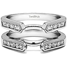 Sterling Silver Channel Set Cathedral Style Ring Guard with Cubic Zirconia (0.5 ct. tw.)