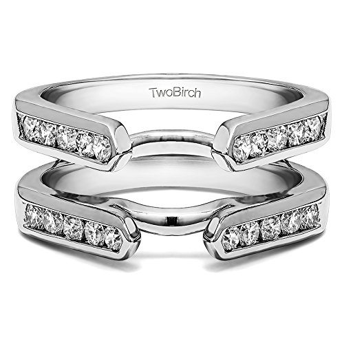 0.5 ct. Diamonds Channel Set Cathedral Style Ring Guard in 10k White Gold (1/2 ct. twt.) by TwoBirch