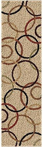Orian Rugs Impressions Shag Circle Design Bisque Runner Rug, 2