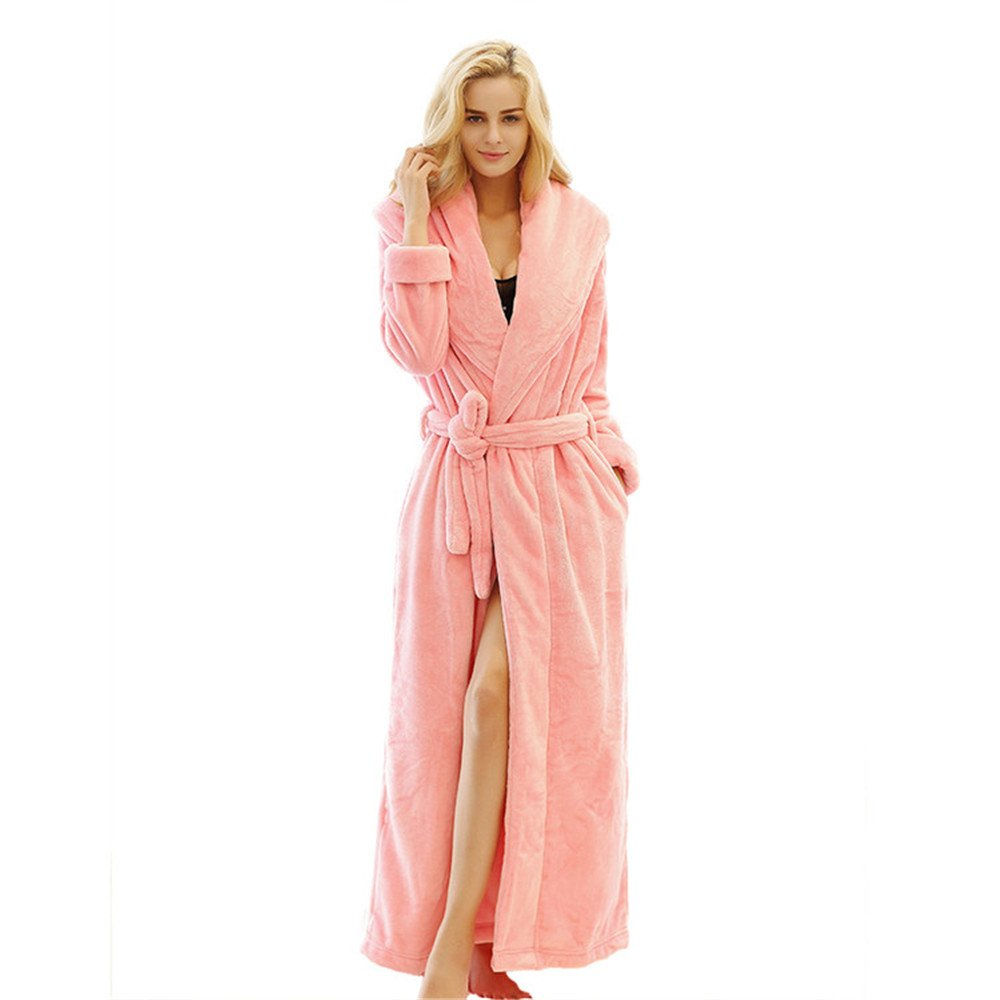 7 VEILS Men Women Microfleece Flannel Ultra Long Floor-Length Big Collar Bathrobes 180509ROBE01