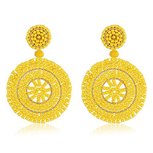 (CEALXHENY Beaded Drop Earrings Handmade Seed Bead Round Dangle Earrings Bohemia Statement Earring Studs for Women Girls (G Yellow))