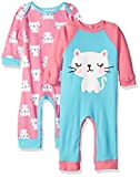 Gerber Baby Girls 2 Pack Coveralls, Kitty, New Born