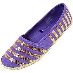 Ladies / Womens Summer / Holiday / Beach Shoes / Sandals / Espadrilles - Purple - 7 US
