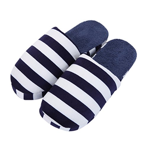 TrendsBlue Classic Striped Fleece Fabric House Slippers - Different Colors Dark Navy Zg6TW