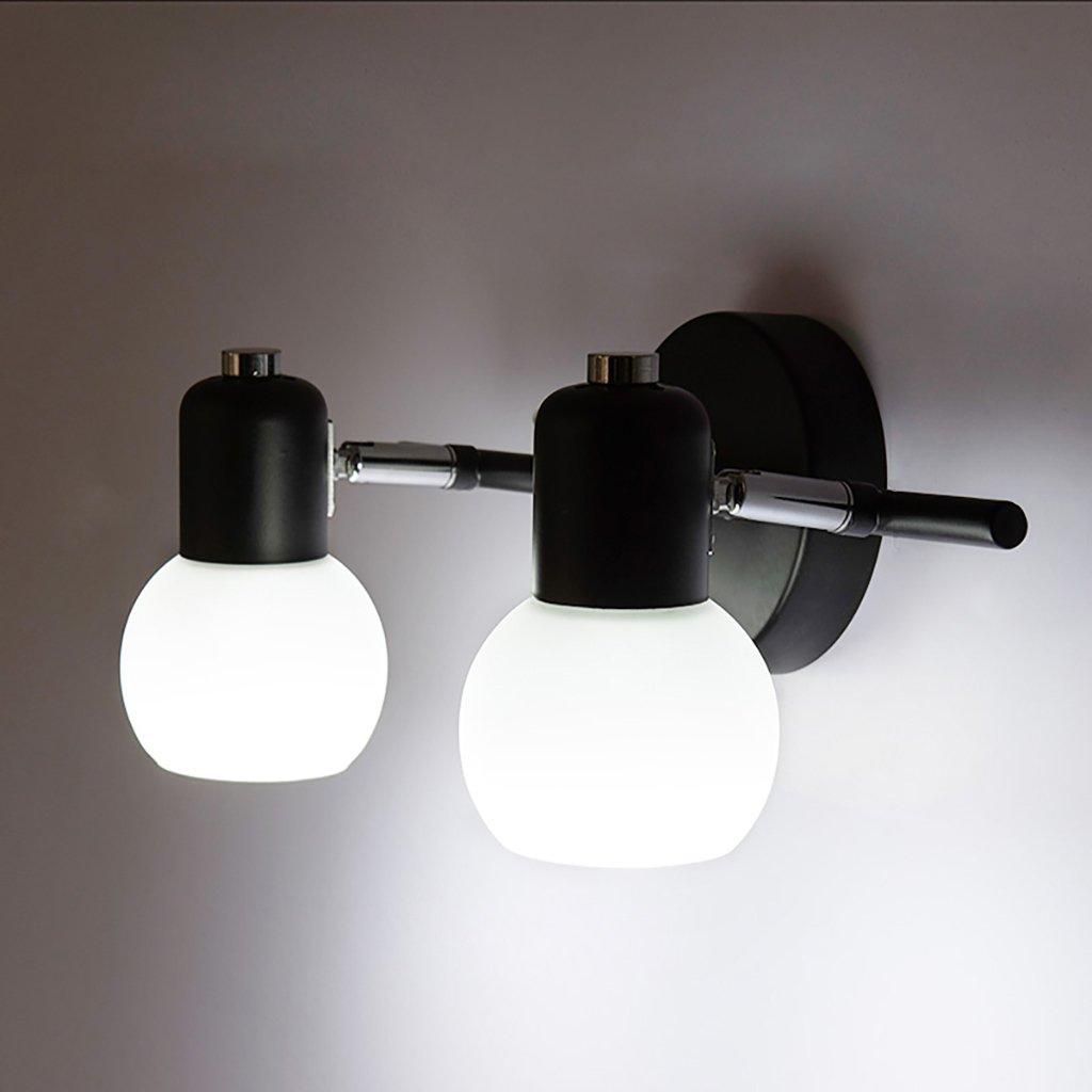 DLewiee 鍛鉄壁ランプガラスランプミラーミラーledライト白いバスルームドレッシングランプミラーキャビネット照明 B07BM9ZJ2F 10407 ダブルホワイトライト ダブルホワイトライト