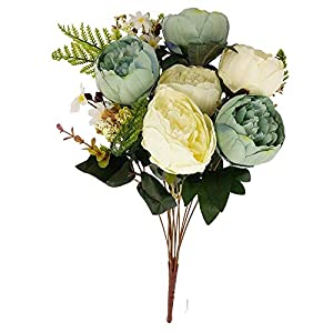 MARJON Flowers7 Head Two Toned Large Vintage Peony Bunch - Vintage Artificial Flowers[Duck Egg and Ivory] 73