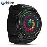 Zeblaze Super Lightweight Smart Thor PRO Watch Smartwatch-Shadow, Android 5.1 Bluetooth 4.0 Quad Core 1GB+16GB 5.0MP 580mAh 3G GPS Smat Watch for Men Black Activity Tracker