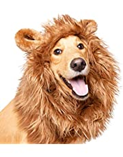 """Pet Krewe Dog Lion Mane Halloween Costume – Fits Neck Size 13""""- 32""""- Lion Mane for Small Dogs – Ideal for Halloween, Dog Birthday, Dog Cosplay, Dog Outfits, Pet Clothes (Large)"""