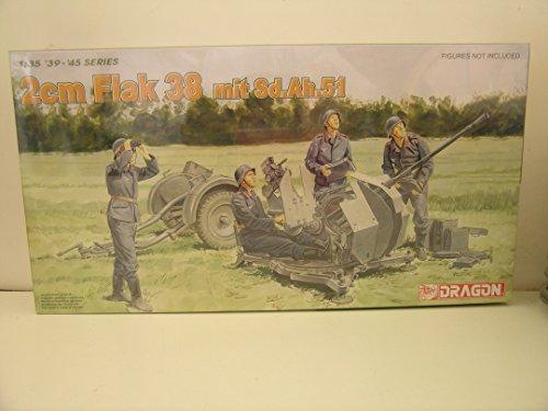 Dragon Models----1/35 Scale German WW II 2cm Flak 38 mit Sd.ah.51-----Plastic Model Kit