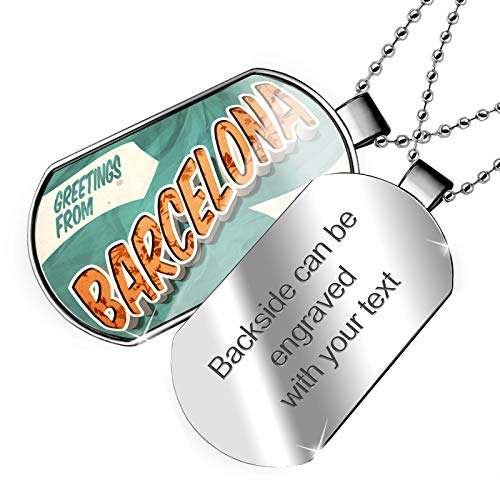 - NEONBLOND Personalized Name Engraved Greetings from Barcelona, Vintage Postcard Dogtag Necklace