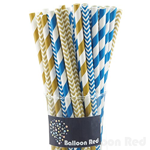 [Biodegradable Paper Drinking Straws (Premium Quality), Pack of 100, Combo - Gold & Blue / Striped &] (Blue Drinking Hat)