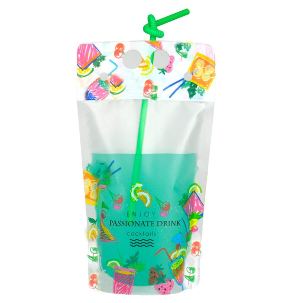 LASLU 100pcs Home-made Juice Drink Bags,Translucent Frosted Drinking Pouches with 100 Pcs Colorful Straws, Collapsible Reclosable Stand-up Hot and Cold Dual Use Ziplock Multi-function Bags (Fruits, 500ML)
