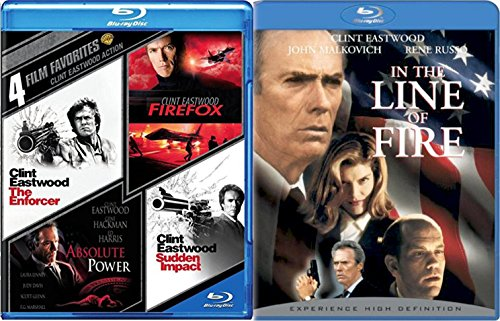 Clint Eastwood Blu Ray In the Line of Fire + Sudden Impact / Absolute Power / Firefox / The Enforcer Action Pack 5 Movie Bundle Collection