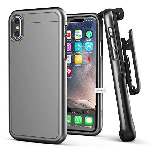 iPhone X Belt Case w/ Screen Protector, Encased [SlimShield Series] Protective Grip Case with Holster Clip for Apple iPhoneX (2017 Release) Gunmetal Grey