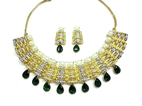 Margarita Green Sensation Royal Designer Necklace with Designer Earrings in Austrian Crystal Diamonds with Gold Two Tone Plated for Women