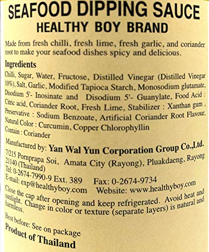 Healthy Boy Seafood Dipping Sauce (Green Chili & Lime) 12 Ounces, Product of Thailand (Pack of one)