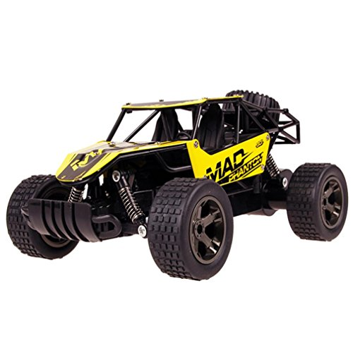 E-SCENERY 1:20 2.4Ghz 2WD Alloy Case RC Truck, High Speed Off-road Remote Control Car Short Course RTR Racing Truck With Rechargeable Battery (Yellow)