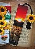 Golden Sunflower Sunset Scenic Floral Bookmark w/ Silk Sunflower CharmFine Art Photography Photo Laminated Handmade Bookmark