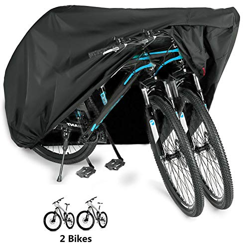 WAEKIYTL Bike Cover Outdoor Waterproof XL Bicycle Cover for 2 Bikes Motorcycle Covers 210D Oxford Fabric Rain Sun UV Dust Wind Proof for Mountain Road Electric Bike Tricycle