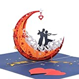 3D Anniversary Card - For Her, Him, Couple, Wife, Husband, Girlfriend, Boyfriend - A Dance on Moon Boat To The Edge Of The World - Anniversary Gifts for Her, Birthday Card, Valentines Day Card