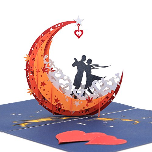 3D Anniversary Card - For Her, Him, Couple, Wife, Husband, Girlfriend, Boyfriend - A Dance on Moon Boat To The Edge Of The World - Anniversary Gifts for Her,Birthday Card,Valentines Day Card by AITpop (Best Gift To Boyfriend On Valentines Day)