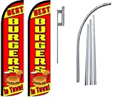 Best Burgers In Town King Windless Swooper Flag Sign Kit With Pole and Ground Spike - Pack of 2