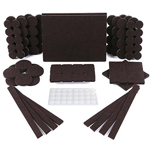 Protectores para patas de mesa. Juego de 150: 118 fieltros adhesivos y 32 lagrimas silicona adhesivas. Protector adhesivo para patas de sillas, fieltro para sillas de 5mm de grosor y mas durabilidad
