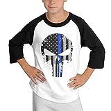 MULTY9 Thin Blue Line Skull Child Youth 3/4 Sleeve T Shirts Large