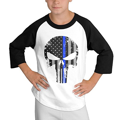 Price comparison product image MULTY9 Thin Blue Line Skull Child Youth 3/4 Baseball Tshirt Small