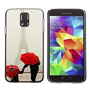 Be Good Phone Accessory // Dura Cáscara cubierta Protectora Caso Carcasa Funda de Protección para Samsung Galaxy S5 SM-G900 // Umbrella White Art Snow Winter Red