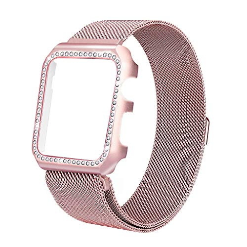 iTerk Stainless Steel Band Compatible Apple Watch Band 38mm Women Iwatch Series 3 2 1 Accessories Metal Wristband Bangle Bracelet Magnetic Buckle Protective Diamond Case Bumper Sport Strap