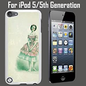 Antique Ballerina Drawing Custom Case/ Cover/Skin *NEW* Case for Apple iPod 5/5G/5th Generation - White - Plastic Case (Ships from CA) Custom Protective Case , Design Case-ATT Verizon T-mobile Sprint ,Friendly Packaging - Slim Case