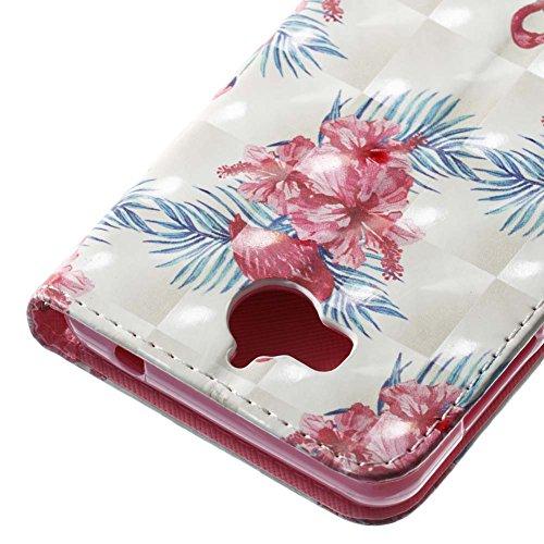 Huawei Y6 2017 Leder Hülle,Huawei Y5 2017 Bookstyle Ledertasche, Aeeque Luxuriös 3D Glitzer Bling [Gelb Blau Baum Bild] Kartenfächer Standfunktion Brieftasche Handytasche für Huawei Y5 / Y6 (2017) Sch Handschlaufe Rot Blumen Flamingos