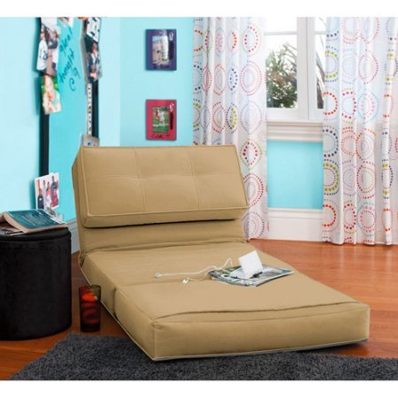 Your Zone Flip Chair | Ultra Suede Material | Chair Easily Converts into a Bed (Khaki)