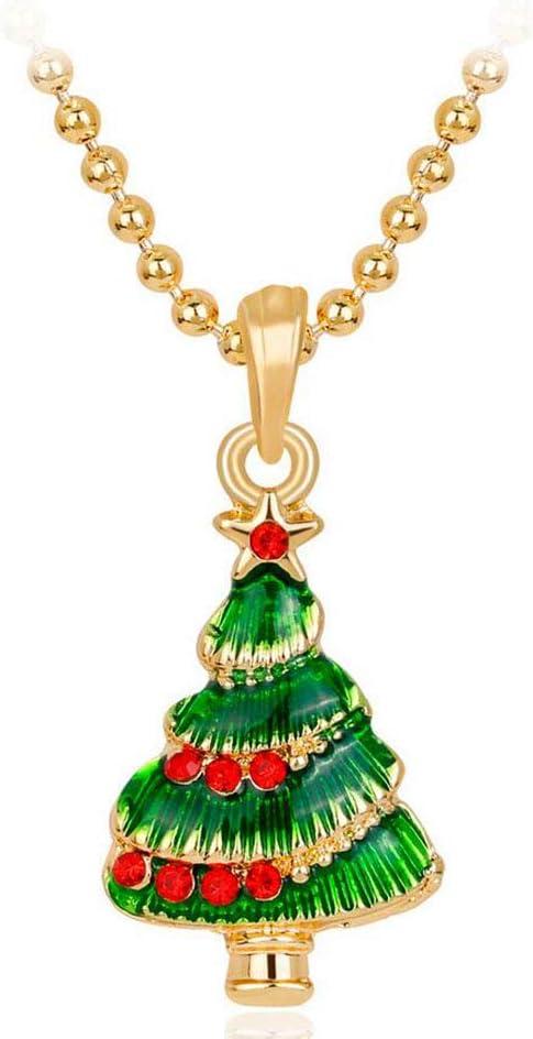 HANJIAJKL Collar Colgante De Piedras Preciosas Colgante De Collar De La Mujer, Collar Pendiente Verde Árbol De Navidad, Acción De Gracias, Navidad, Nochebuena Accesorios De Vestir