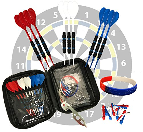 Set of 9 USA Red White & Blue Eagle Onesies Gossamer Ribbed Commercial Grade 2ba 16g Soft Tip Bar Darts