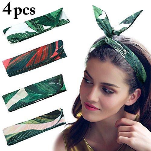 Hair Wrap Accessory (Wire Headbands, Fascigirl 4 PCS Vintage Boho Twist Bow Tie Hair Wrap Fashion Floral Adjustable Hairbands Hair Accessories for Women Girls)