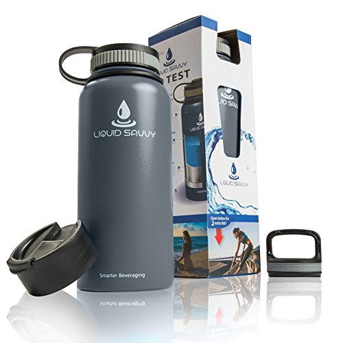 Price comparison product image Liquid Savvy 32 oz Insulated Water Bottle with 3 lids - Stainless Steel,  Wide Mouth Double Walled Vacuum Insulated Bottle for Hot and Cold Beverages (Gray)