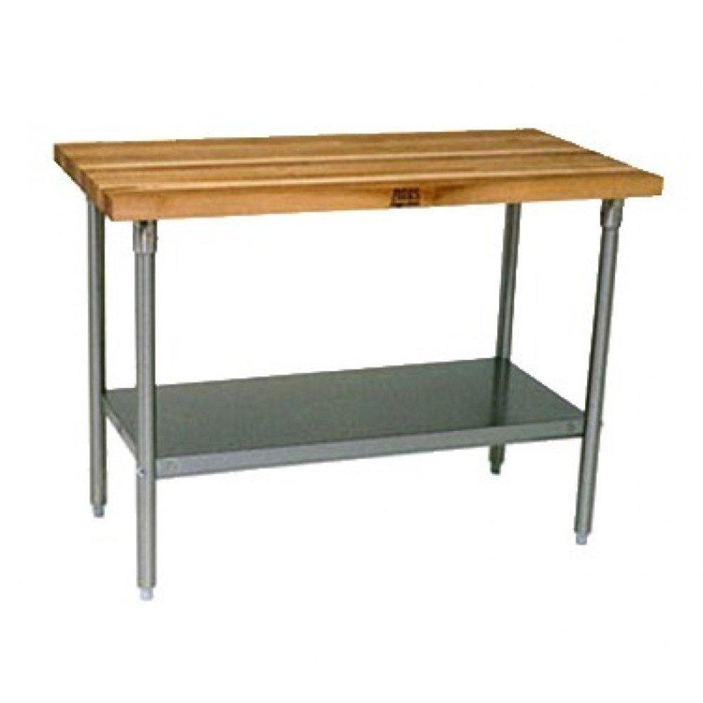 John Boos JNS11 Work Table 1-1/2'' Maple Top, Adjustable Undershelf 72'' W x 30'' D, Galvanized Legs