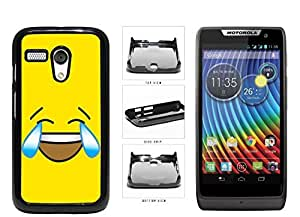 Bright Yellow Laughing Crying Smiley Face Plastic Phone Case Back Cover Moto G