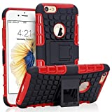 iPhone 6S Case, NOVT iPhone 6 / 6S Case Shock Absorbing Hybrid Best Impact Defender Rugged Slim Dual Layer Phone Case with Kickstand for Apple iPhone 6 / 6S 4.7 Inch (Black+Red)