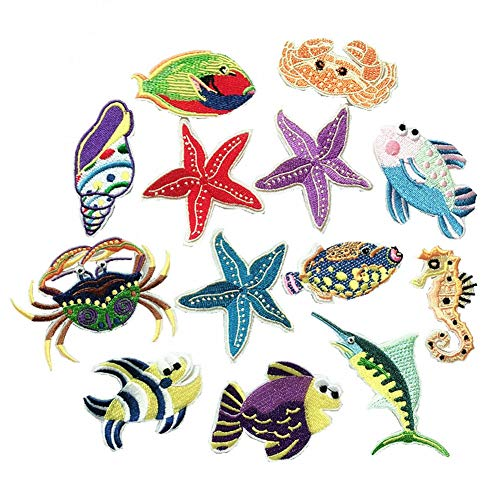 - 13 Pcs Seabed Ocean Animals Patches Embroidered Iron on Patch for Clothing Badges DIY Stickers Sew Applique