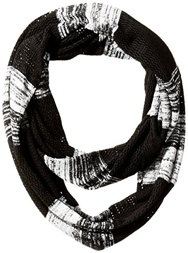 Champion Women's Space Dye Open Knit Infinity Scarf, Black/White/Berry Delight, One Size